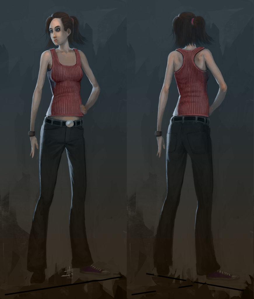 Das Bild zeigt die 2D Illustration der Protagonistin aus dem Spiel Midnight Sun.