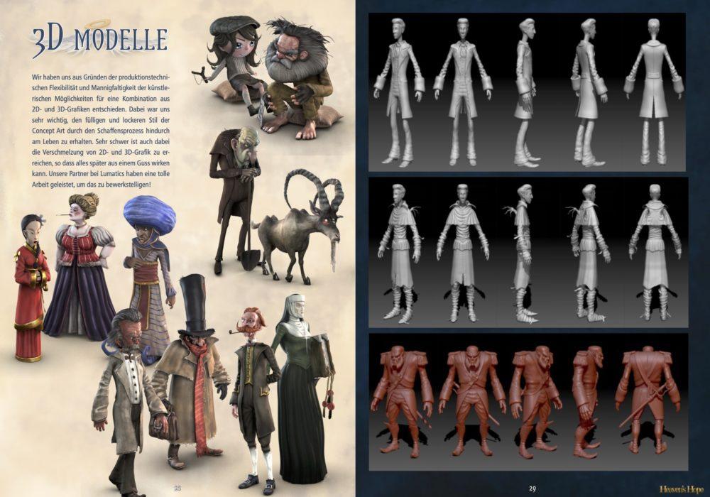 Das Bild zeigt eine Seite aus dem Artbook von dem Point & Click Adventure Heaven´s Hope mit den Figuren von Heaven´s Hope und Talorel und McCallum als 3D Figuren