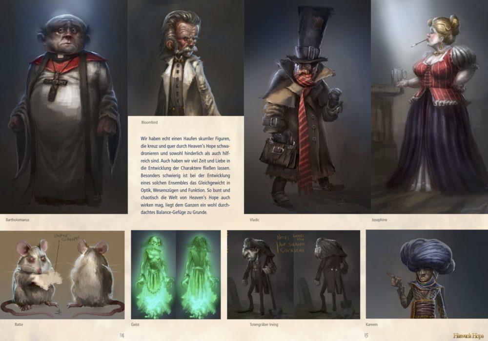 Das Bild zeigt eine Seite aus dem Artbook von dem Point & Click Adventure Heaven´s Hope mit den 2D Illustrationen der Figuren Bartholomäus, Bloomford, Vladic, Josephine, der Ratte, dem Geist, Irving und Kareem.