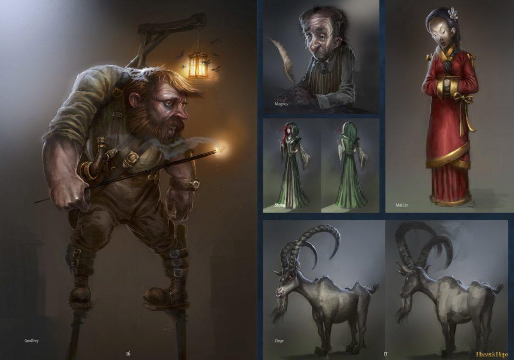 Das Bild zeigt eine Seite aus dem Artbook von dem Point & Click Adventure Heaven´s Hope mit den 2D Illustrationen der Figuren Geoffrey, Magnus, Mai Lin, Shona und der Ziege.