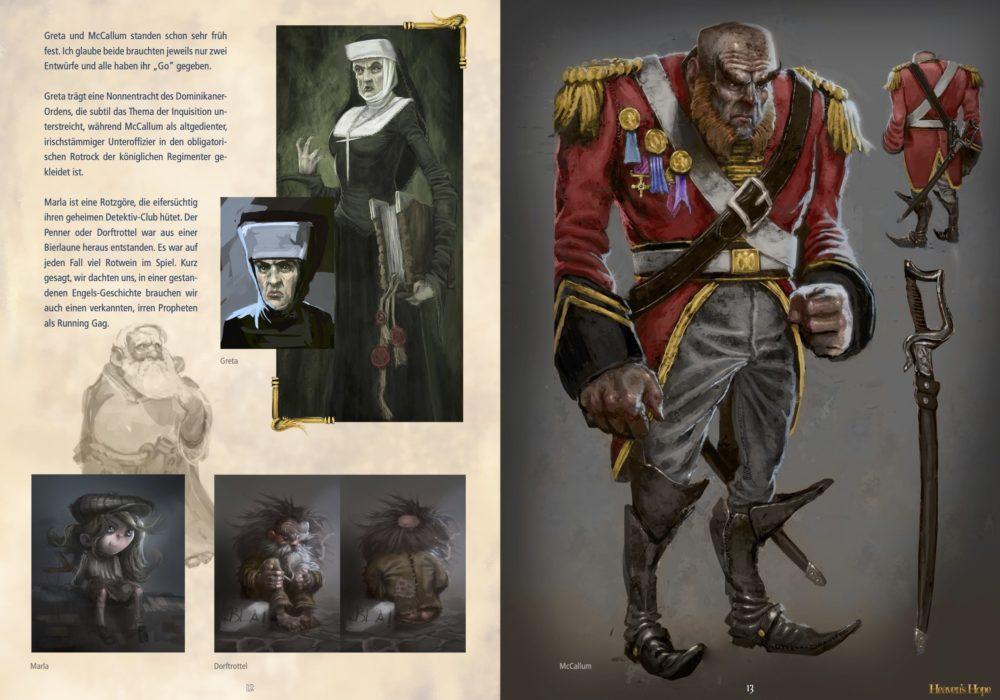 Das Bild zeigt die Entwürfe der Figuren Greta und McCallum für das Spiel Heaven´s Hope.