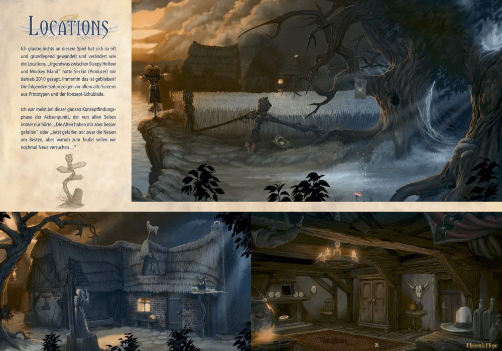 Das Bild zeigt eine Seite aus dem Artbook von dem Point & Click Adventure Heaven´s Hope mit den alten Screens der Locations Feld, Bauernhof und Stube, bevor sie vom Art Director nochmals komplett überarbeitet wurden.