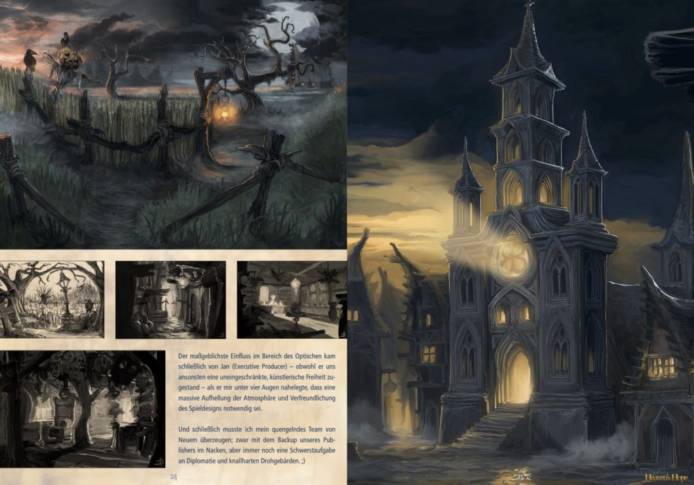 Das Bild zeigt eine Seite aus dem Artbook von dem Point & Click Adventure Heaven´s Hope mit alten, verworfenen Moods von der Kirche und vom Feld