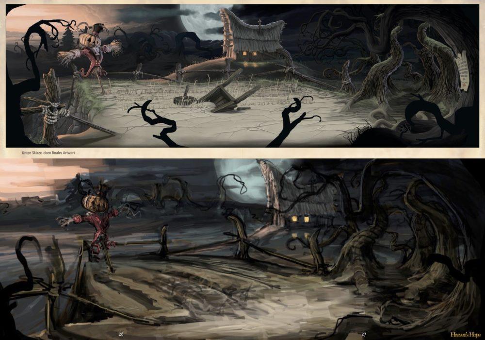 Das Bild zeigt eine Seite aus dem Artbook von dem Point & Click Adventure Heaven´s Hope mit alten verworfenen Moods für das Spiel.