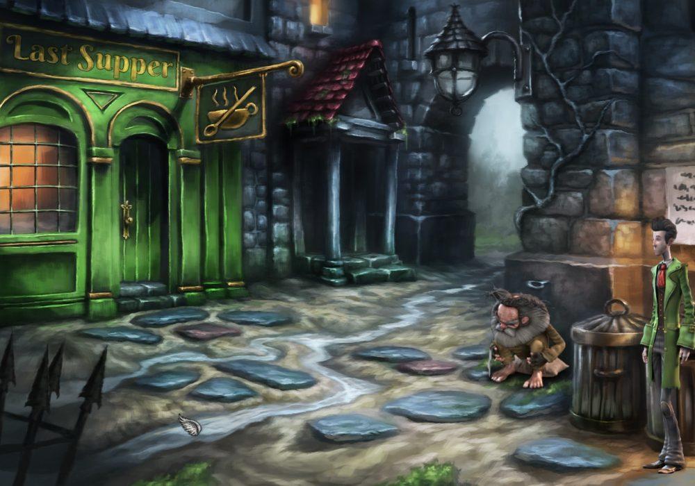 Das Bild zeigt einen Screenshot von einer Hintergasse mit einem verrückten Spinner aus dem Point & Click Adventure Spiel Heaven´s Hope