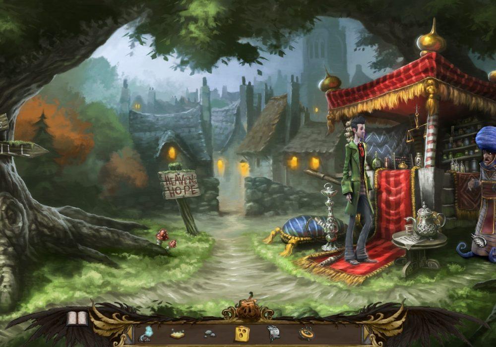 Das Bild zeigt einen Screenshot von dem Stand des fahrenden Händlers Kareem aus dem Point & Click Adventure Spiel Heaven´s Hope