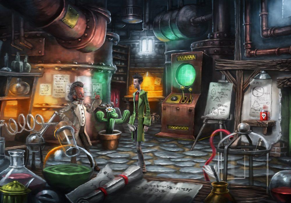 Das Bild zeigt einen Screenshot von dem Labor aus dem Point & Click Adventure Spiel Heaven´s Hope