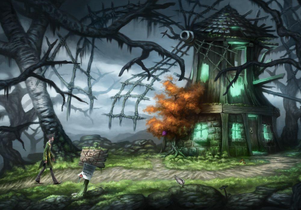 Das Bild zeigt einen Screenshot von der schaurigen Mühle aus dem Point & Click Adventure Spiel Heaven´s Hope