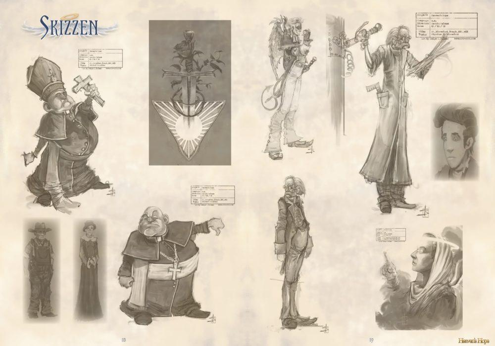 Das Bild zeigt eine Seite aus dem Artbook von dem Point & Click Adventure Heaven´s Hope mit alten, verworfenen Skizzen von den Figuren aus dem Spiel.