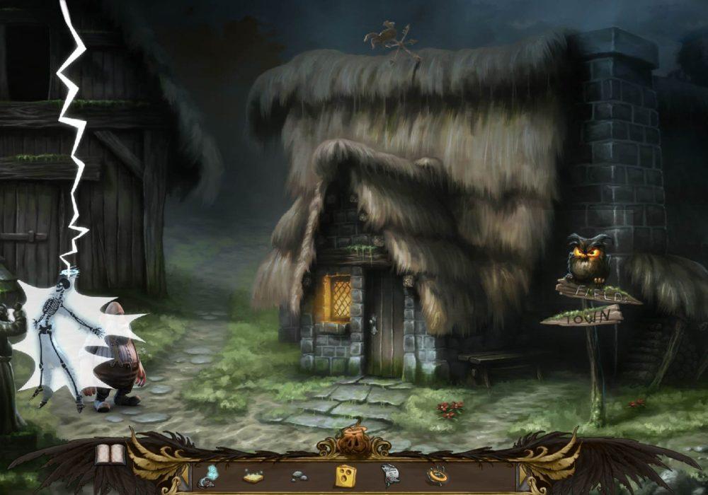 Das Bild zeigt einen Screenshot wo Talorel vom Blitz getroffen wird, nachdem er Petrus geärgert hat, aus dem Point & Click Adventure Spiel Heaven´s Hope