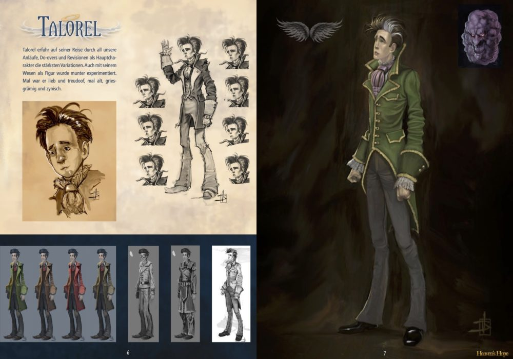 Das Bild zeigt eine Seite aus dem Artbook von dem Point & Click Adventure Heaven´s Hope mit den finalen Illustrationen zu Talorel.
