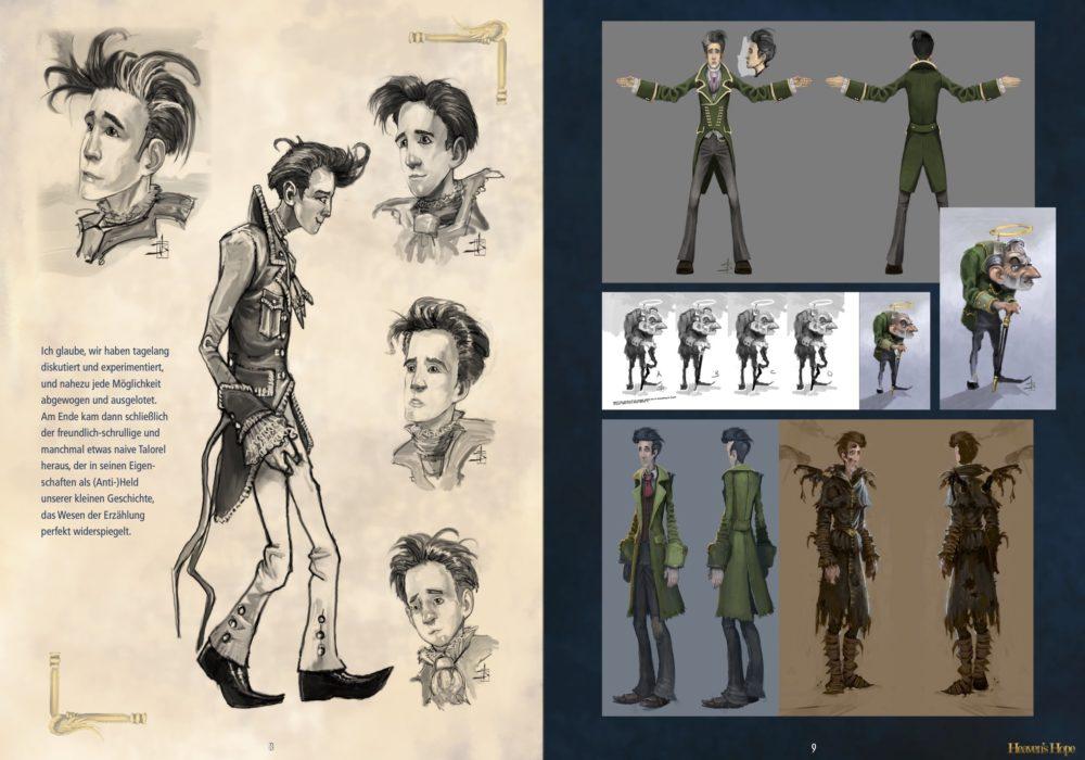 Das Bild zeigt eine Seite aus dem Artbook von dem Point & Click Adventure Heaven´s Hope mit den finalen sowie alten verworfenen Entwürfen von Talorel.